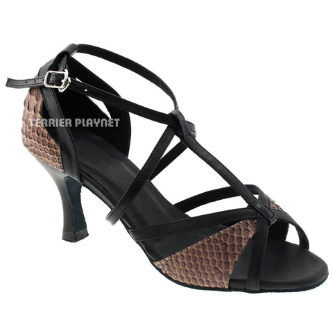 Limited Edition High Quality Black Leather & Snake Pattern Leather Women Dance Shoes D524