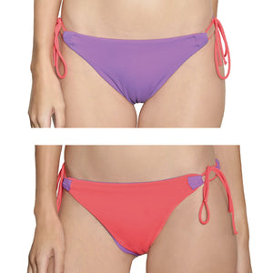 Tahiti String Bottom -  Reversible Lilac / Coral - August Society  - 1