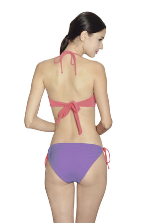 Tahiti String Bottom -  Reversible Lilac / Coral - August Society  - 3
