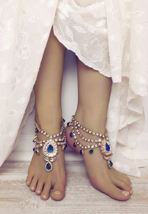 Bali Rhinestone Anklets in Gold