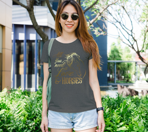 """All You Need is Love & Horses"" Horse Lovers Women's Charcoal Slim-Fit T-Shirt"