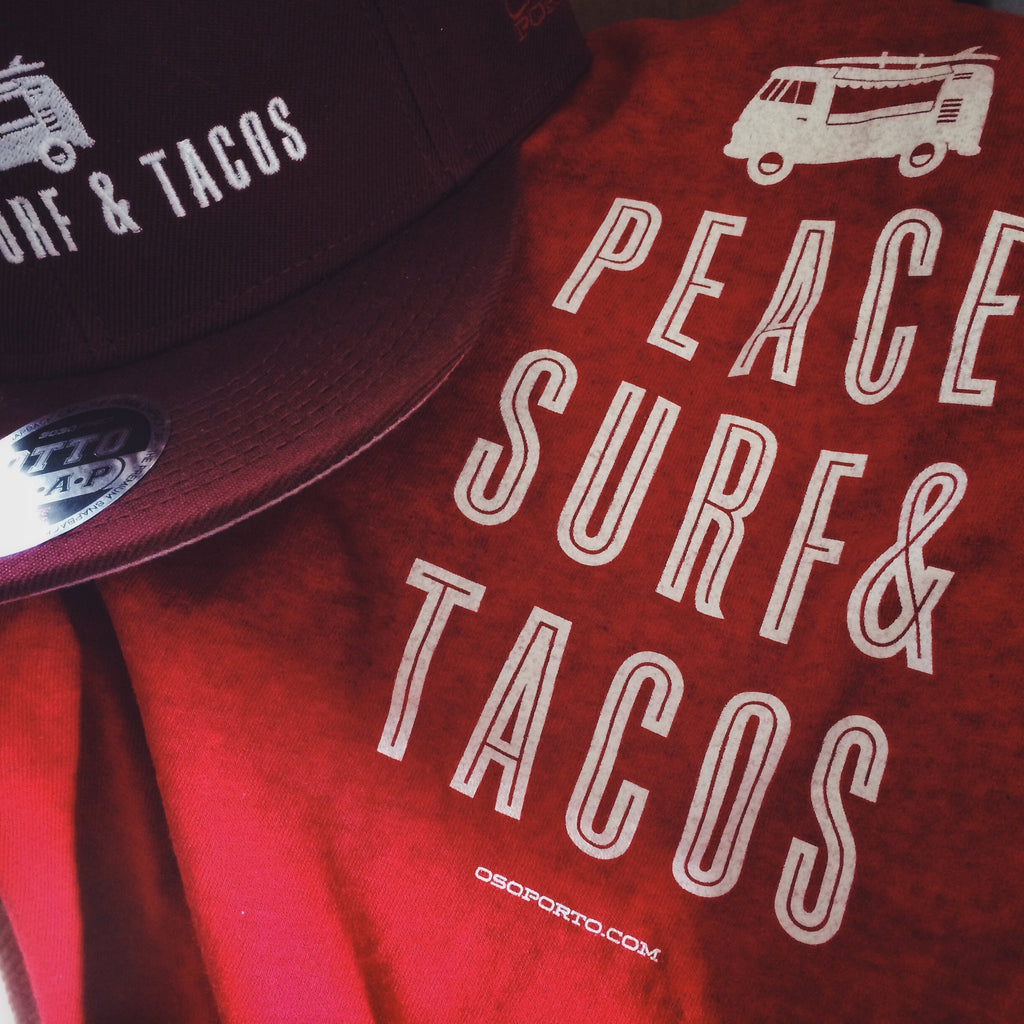 Peace Surf Tacos t-shirt and hat with vw kombi surf van bus
