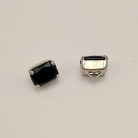 Black (Silver shank) /  Rectangle  / Crystal