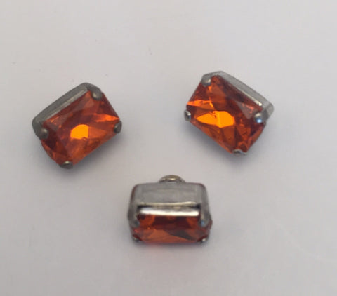 Orange (silver shank) /  Rectangle  / Crystal