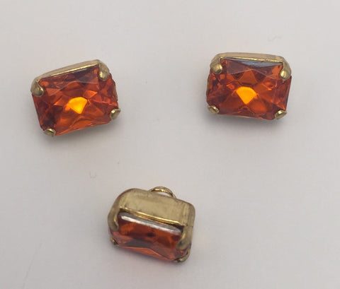 Orange (gold shank) /  Rectangle  / Crystal