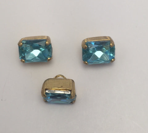 Aqua (gold shank) /  Rectangle  / Crystal