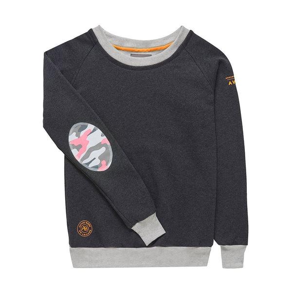 AWOL - Dark Grey with grey and Pink Camo sweatshirt - Annabel Brocks
