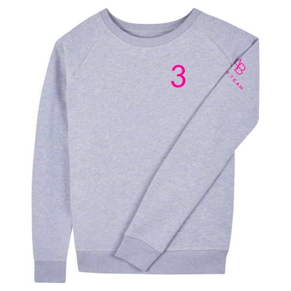 AB Polo sweatshirt - soft blue with neon pink - Annabel Brocks