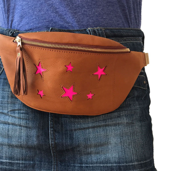 Festival star bum bag  - Tan and neon Pink - Annabel Brocks