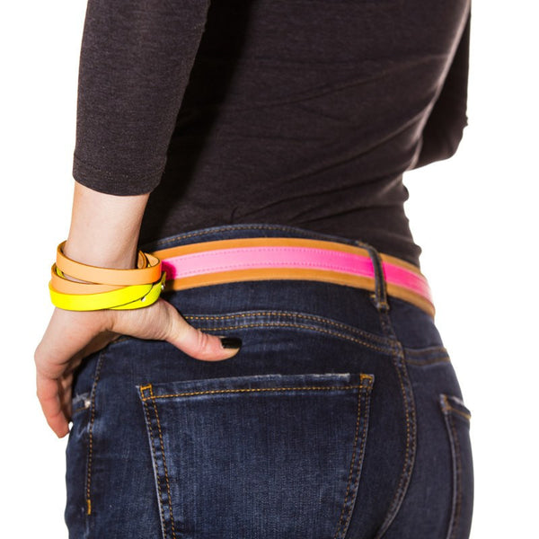 Leather Contrast Belts - Tan and Neon Pink SALE NOW - Annabel Brocks