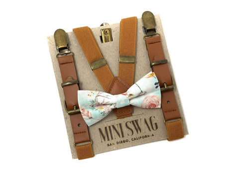Boho Print Bow Tie & Leather Camel Suspenders Set