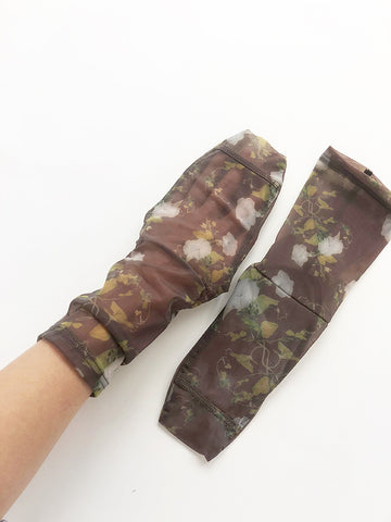 Darner Mesh Socks, Dusty Brown Rosendals Floral - Stand Up Comedy