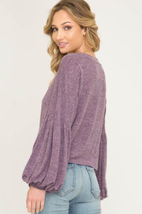 Puff Sleeve Top With Side Tie