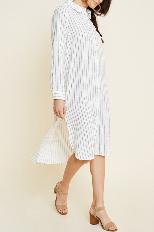 Pin Stripe Shirt Dress