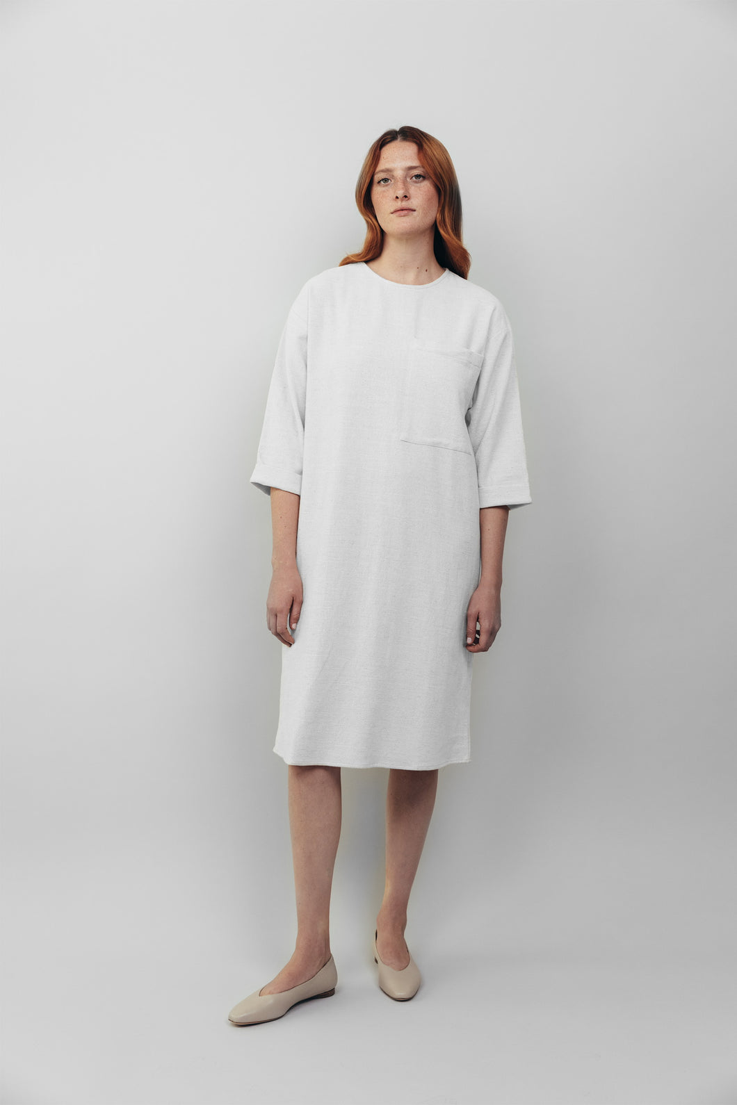 Oversized Pocket Dress, White