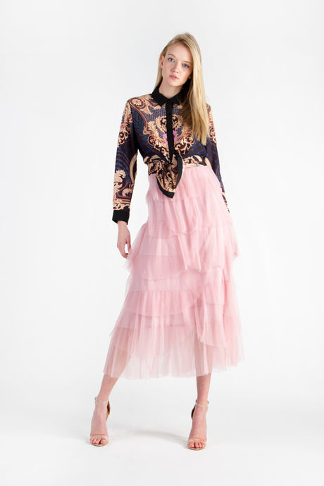 Multi Ruffled Shimmered Skirt
