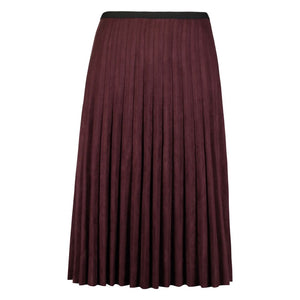 Faux Suede Pleated Skirt, Burgundy