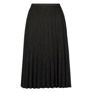 Faux Suede Pleated Skirt, Black