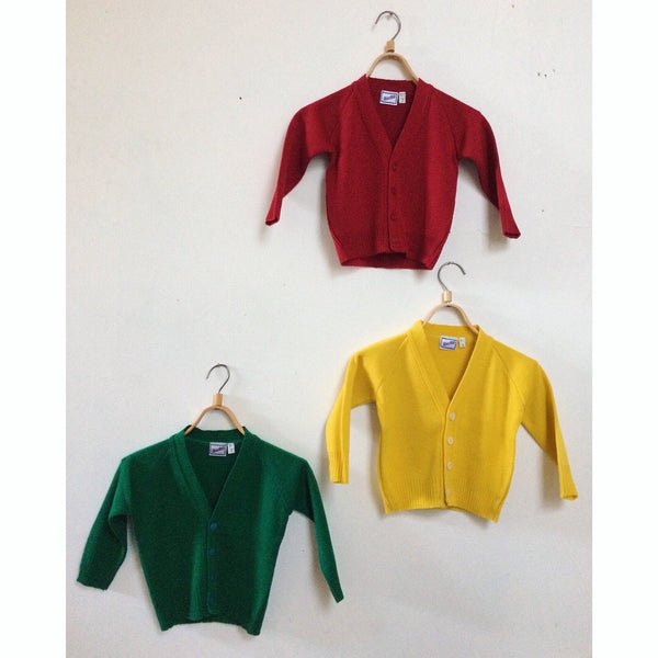 Grandpa Retro Cardigan - Red Yellow and Green Made in Sydney