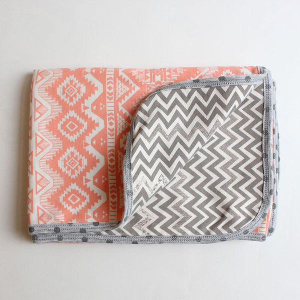 Printink Studio Double Sided Baby Blanket - Coral Aztec