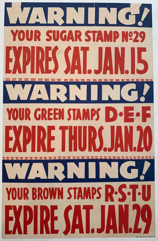 Warning! Your Sugar Stamp No 29 Expires Sat. Jan. 15