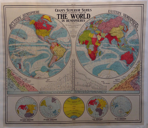 Cram's Superior Series Ocean Current Map Of The World In Hemispheres