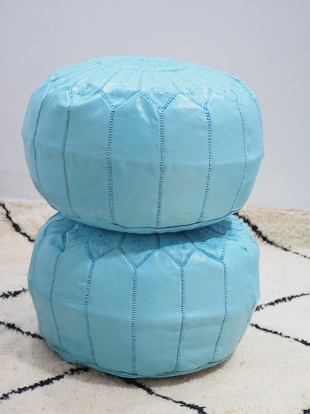 Moroccan Leather Poufs Sky Blue Filled