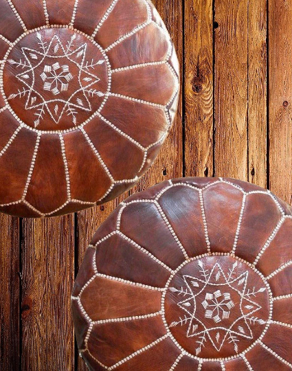 Moroccan Leather Poufs Vintage Style Brown Filled