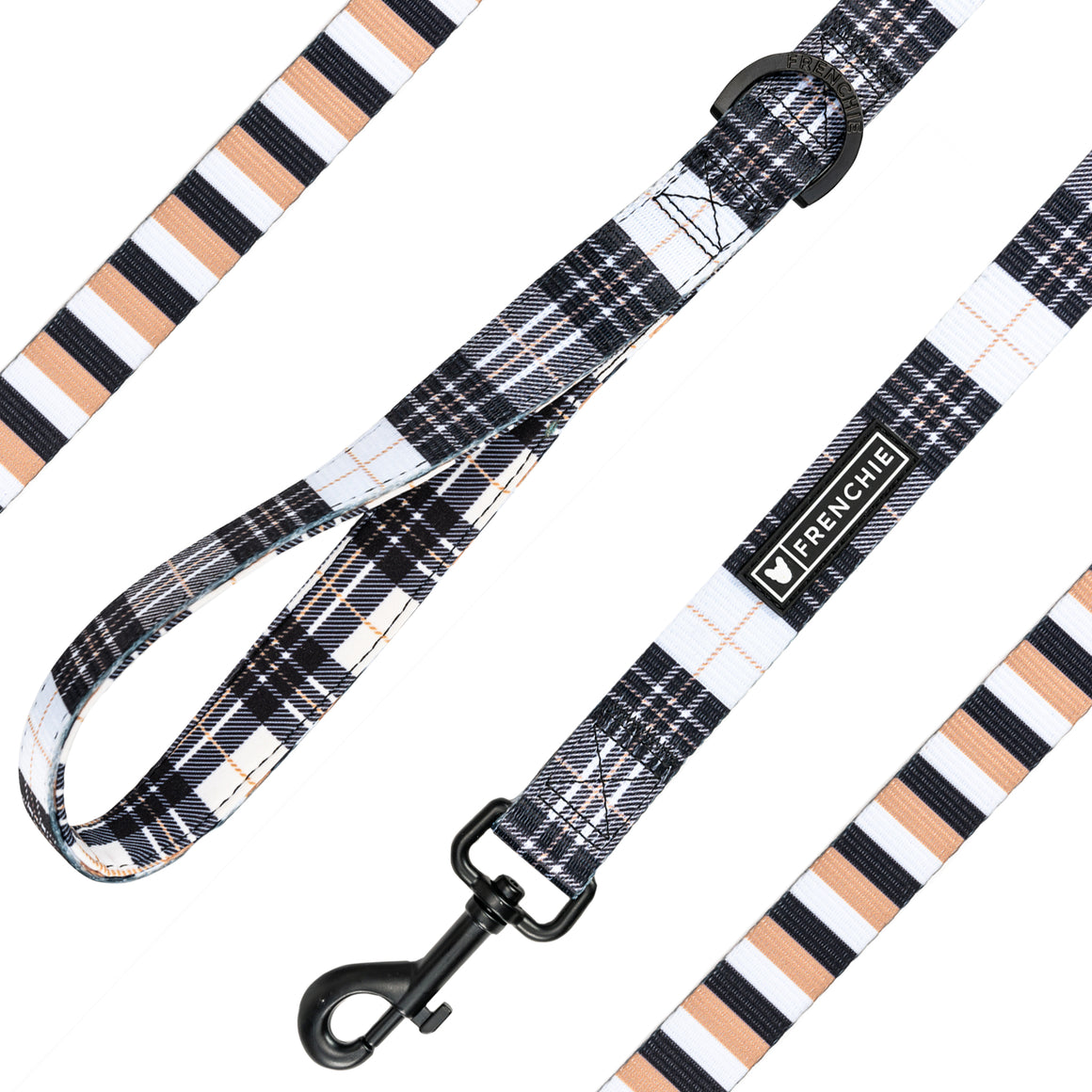 Frenchie Comfort Leash - White Hunter Plaid - Frenchie Bulldog - Shop Harnesses for French Bulldogs - Shop French Bulldog Harness - Harnesses for Pugs