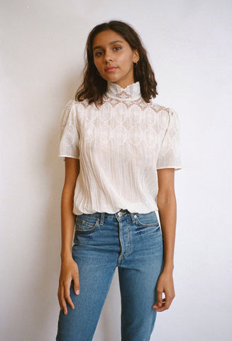 Sabrina Lace and Scallop Top