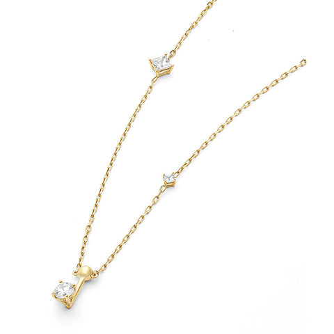 Wasson Fine 14k Dainty Chain Necklace with White Sapphires / Shop Super Street - 1