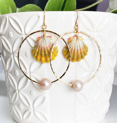 Earrings Belize - pink pearls (E401)