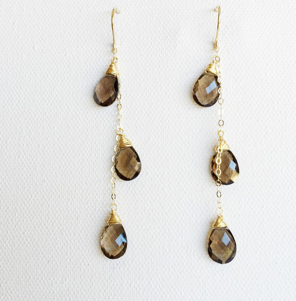 Earrings Adele - smoky quartz (E257)