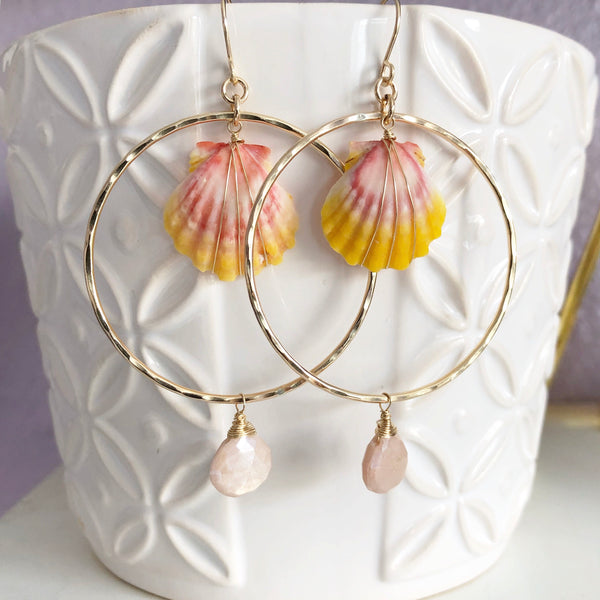 Earrings MELLIE - mystic peach moonstone (E489)