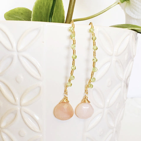 Earrings Ailani - Pink opal & peridot (E164)
