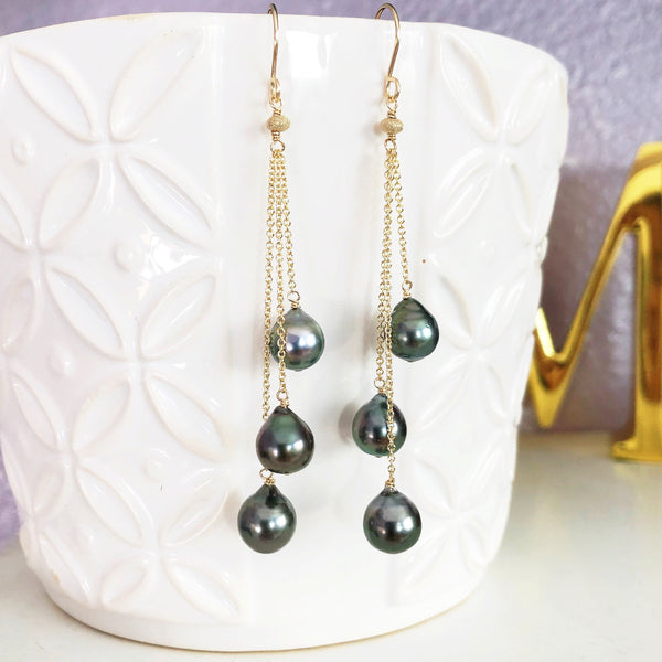 Earrings LILA - tahitian pearls (E547)