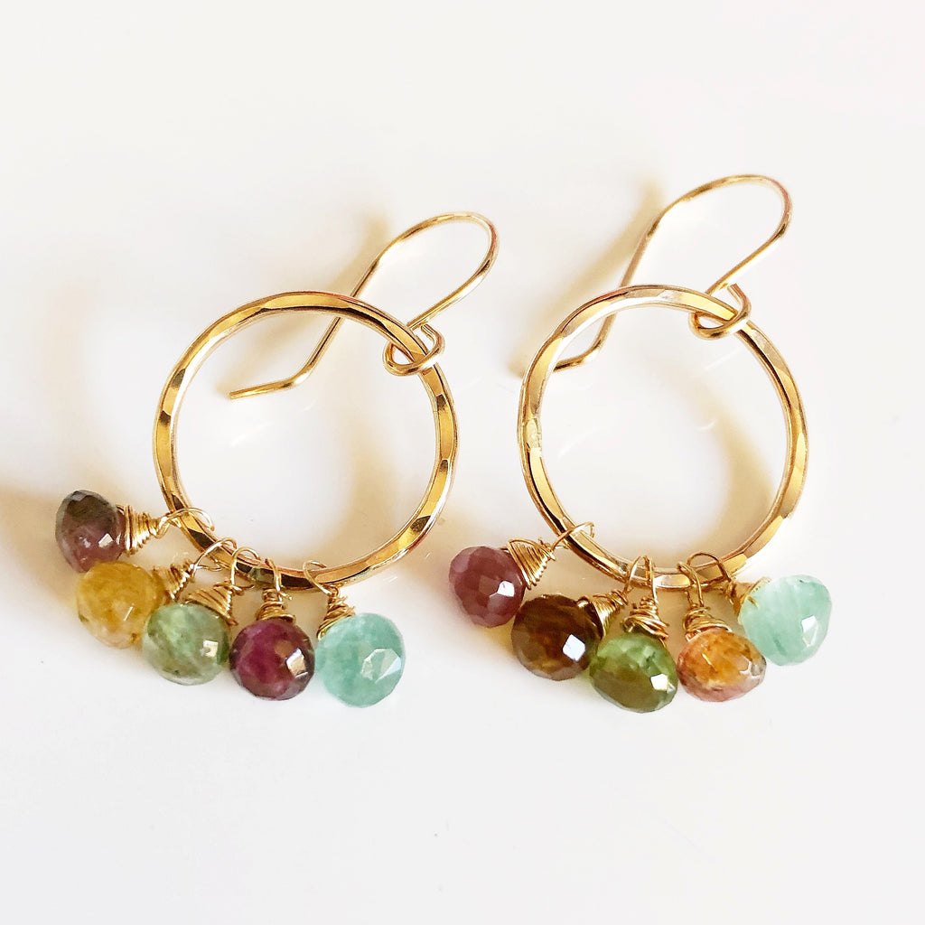 Tourmaline hoops earrings (E525)
