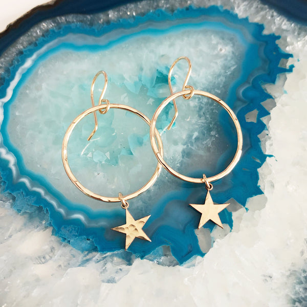 Earrings LULU - star charm (E498)