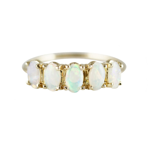 14KT 5 Oval Opal Ring - Melroso Jewelry