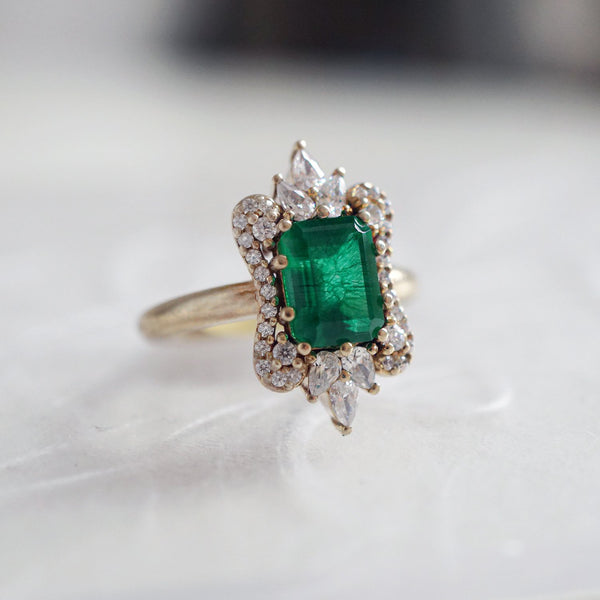 14KT Eleanor Emerald Diamond Ring - Melroso Jewelry