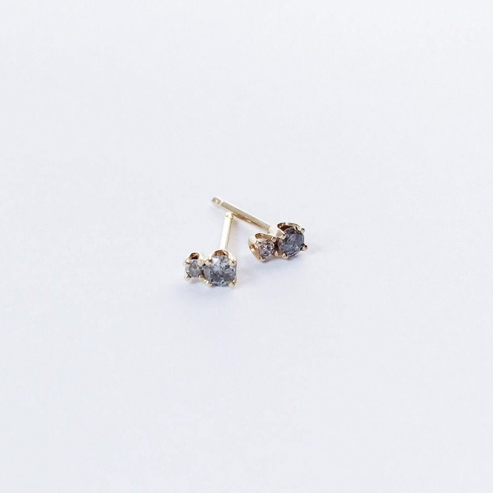 14KT Grey Diamond 2 Step Studs - Melroso Jewelry