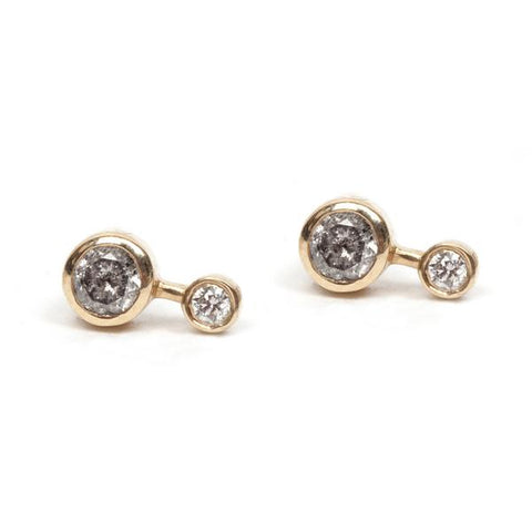 14KT Round Diamond Duo Stud Earring - Melroso Jewelry