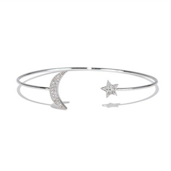 Silver Moon and Star Bangle - Melroso Jewelry