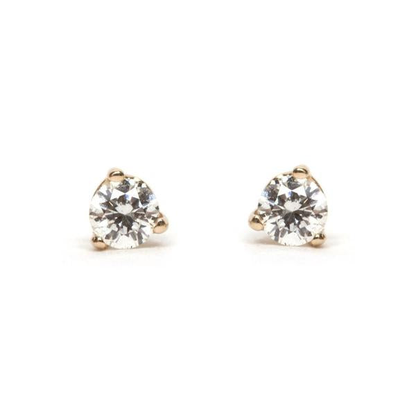 14KT Three Prong Bright Diamond Stud Earring - Melroso Jewelry