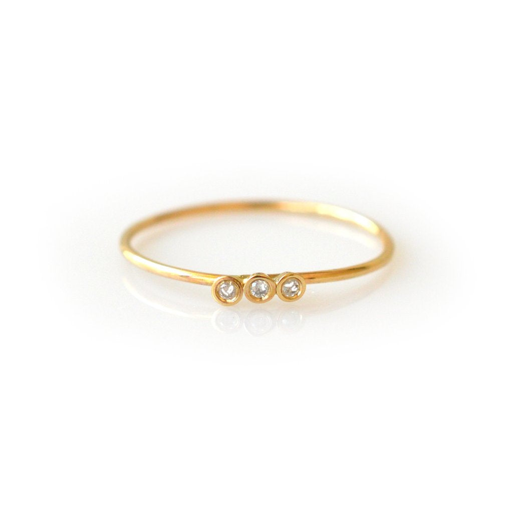 14KT Gold Diamond Trio Ring - Melroso Jewelry