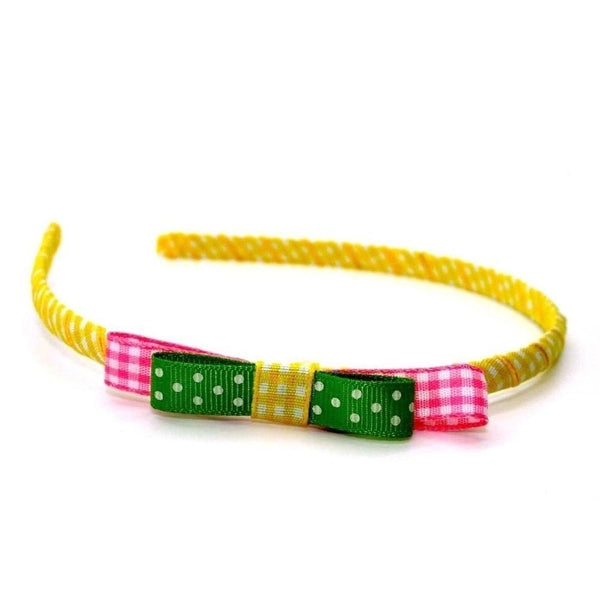 Gingham Bow Headband-Discontinued-Yellow-Tegen Accessories