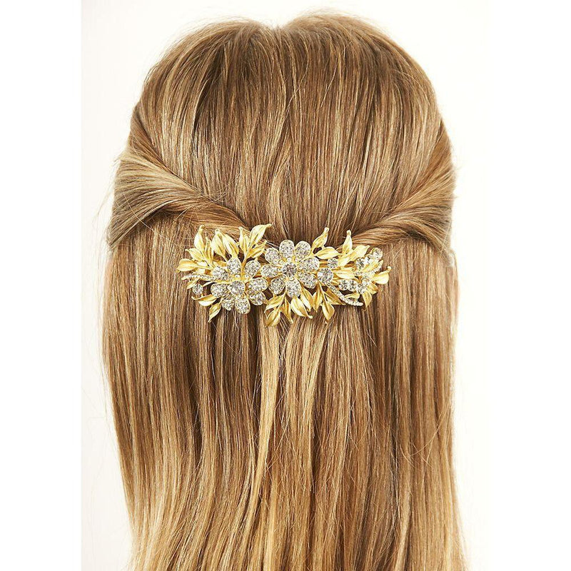 Gold Crystal Daisy Barrette-Barrettes-Rosie Fox-Tegen Accessories