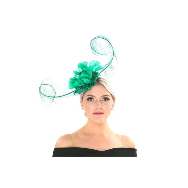 Green Ruched Floral Fascinator-Discontinued-Green-Tegen Accessories
