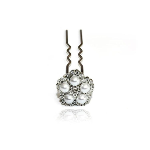 Pearl Petal Chignon Pin-Chignon pins-Swarovski Crystal-Pearl and Crystal-Tegen Accessories
