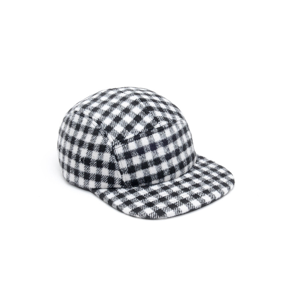 White & Black - Checkered Wool 5 Panel Hat for Wholesale or Custom